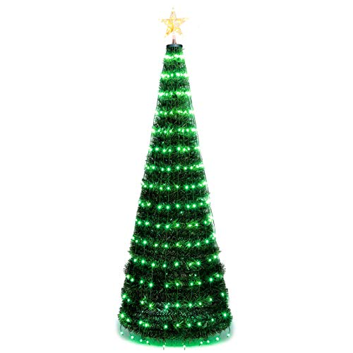 Christmas Tree,6Ft Prelit Christmas Tree with Lights,Artificial Christmas Tree with Star Multi-Color 314 Led Lights Easy Assembly Foldable Stand Perfect for Indoor and Outdoor Holiday Decoration