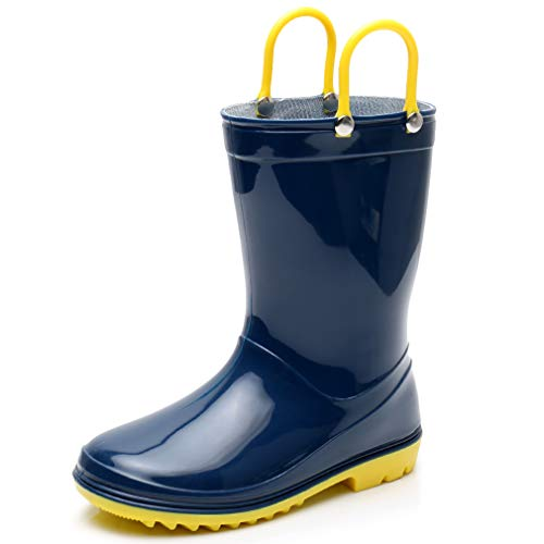 Boys Rain Boots Blue Toddler Kids Lightweight Cute Waterproof Raining Shoes with Easy-on Handles Solid Color Rain Boots (9 M US Toddler, Blue)