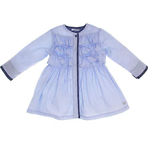Tutto Piccolo - Vestido Camisero para niña en Azul Claro. Fruncido en la Parte Delantera. Manga Larga. Ribeteado en Azul Marino. con Falda de Vuelo (2 AÑOS)
