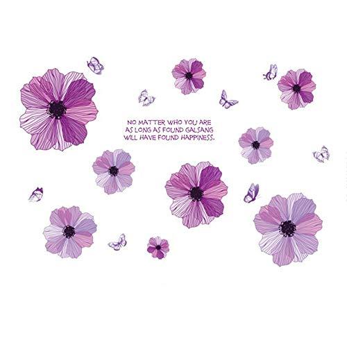 Jcnfa-sticker mural Auto-adhésif, Autocollant Fleur Mauve Chevet Chambre Salon Mur De Fond De Télévision (Couleur : A, Taille : 130 * 88cm)