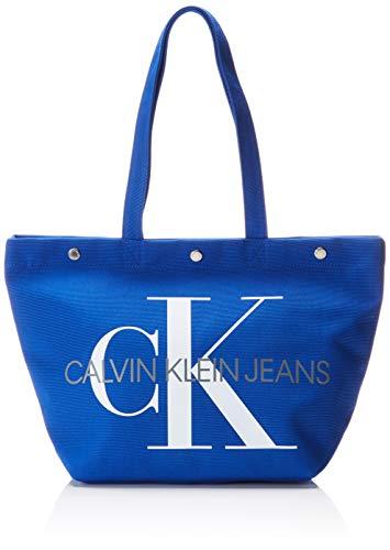 Calvin Klein Jeans - Canvas Utility Ew Bottom Tote M, Bolsos totes Mujer, Azul (NAUTICAL BLUE), 15x31x46 cm (B x H T)