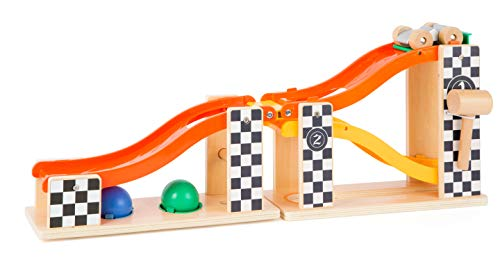 Small Foot Wooden Toys Wooden Marble Run & Knock Hammer Bench in Rally Design with Race Car, Balls & Hammer Designed for Children 18+ Months
