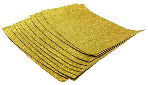 Glitter Foam Sheets Self Adhesive Sticky 8 x 12 Back Paper 10 Pack for Children's Craft Activities DIY Cutters Arts and Crafts (Gold)
