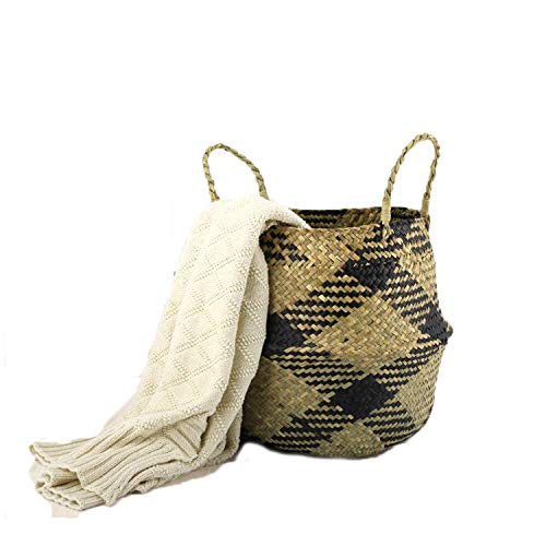 Szetosy - Cesta de junco marino natural tejida a mano, con asa, para almacenar juguetes, ropa sucia o como maceta, Estilo#6, 32CMx28CM
