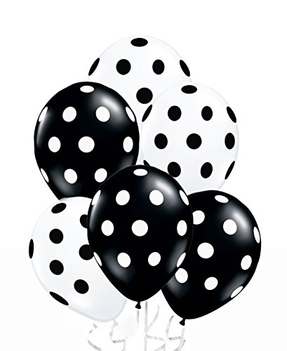 AnnoDeel 50 Pcs 12' Latex Balloons, Black and White Polka Dot Balloons for Brithday Balloon Wedding Balloon Decoration