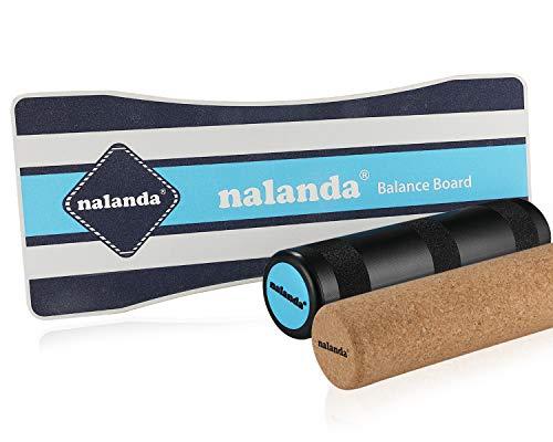 NALANDA Balance Board aus Holz I Balance Trainer Balancierbrett Skateboard I Ideal für Kraft- und Gleichgewichtsübungen (Blau Schwarz 1)