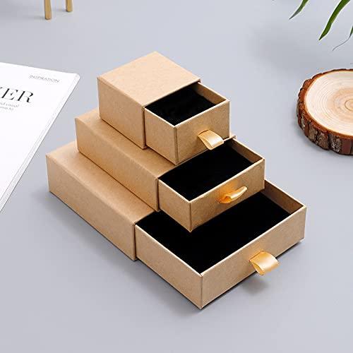 ZJF 50 Piezas de Oro en Relieve Personalizado y Plateado pequeña Caja de cartón cajón Caja de cartón Pendientes Personalizados Caja de joyería (Color : Custom Kraft Box, Gift Bag Size : 100 Boxes)