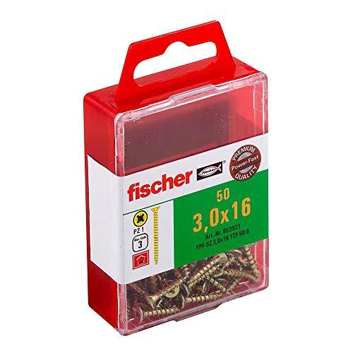 fischer Power-Fast FPF-SZ 3,0 x 16 YZF 50 B - Spanplattenschrauben mit Senkkopf und Vollgewinde zur Befestigung von dünnen Bauteilen in Holzwerkstoffen - 50 Stück - Art.-Nr. 653921