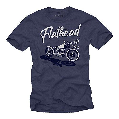MAKAYA Camisetas Moteras - Vintage Flathead Moto - T-Shrit Motero Ropa Chopper Davidson Azul XXXL