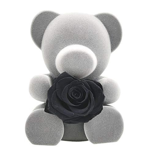 Coherny Lovely Grey Rose Bear Teddy Preserved Rose Flower in Box Love Handmade Flower for Girlfriend