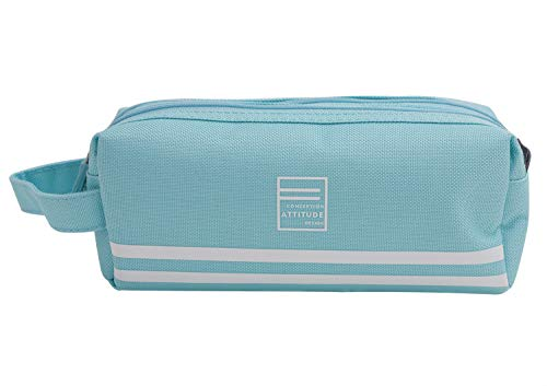 Portable Pencil Case with Side Handle,Large Capacity Zipper Pen Pouch Bag Makeup Bag Back to School Stationary Pencil Bag for Organizing Pens,Markers,Brush,Ruler(RectangleLight Blue)