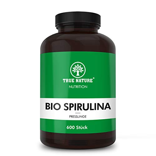 TRUE NATURE® Bio Spirulina Presslinge - 600 Tabletten mit je 500mg - REINE Bio Spirulina Alge - Hochdosiert, Mehrfach Laborgeprüft, Made in Germany