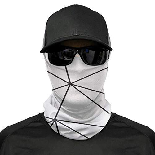 Decams Waschbarer Gesichts-Halswärmer Schal Sturmhaube Zara Mono Geometrisch Weiß Schwarz Unisex Weich Winddicht Neuheit Stirnband für Sport Wandern