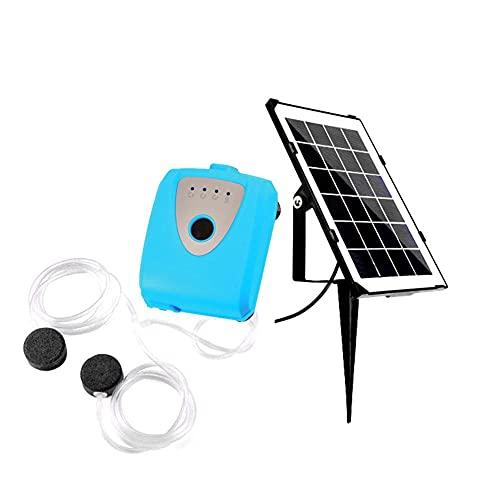 NIDONE Solar-Behälter-Sauerstoffpumpe Wasserdicht Oxygenator Belüfter Angeln Wasserluftpumpe Kit für Garten Outdoor-Pool Pond Blau