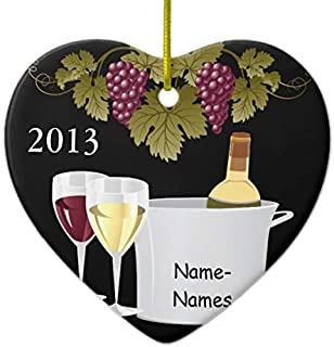 Wine Lovers 2013 Xmas Trees Home Decorated Ceramic Ornaments Porcelain Ornament Personalize Souvenir Gift Heart Shaped