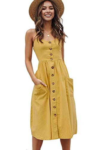 OMZIN Damen Kleid Midikleid Cocktailkleid Sommerkleid Strandkleid Urlaubkleid Ärmellos Sexykleid Vintage Gelb XXL