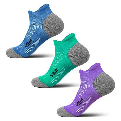 Vihir - Calcetines antiampollas para correr, para mujer y hombre, para corredores de maratón, no show de corte bajo, resistentes al sudor