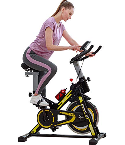 hopesport Indoor Cycling Bike Stationary Exercise Bike, Super Silent Spin Bike with Comfortable Soft Seat Cushion, Ipad Holder with LCD Monitor for All Home Gym & Workout Equipment
