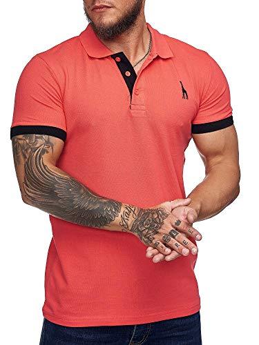 OneRedox Herren Poloshirt Polohemd Basic Kurzarm Einfarbig Slim Fit Polo Shirt Baumwolle T-Shirt Polokragen M-XXXL Modell 1404 Fuchsia XL