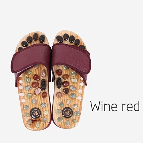 Ginsenget Tap Beach Shoes,Zapatillas Masaje Masaje magnético guijarros,Sandalias baño Dormitorio,Sandalias Verano Hombres Mujeres,púrpura,41,Zapatillas Slip on Soft Mula