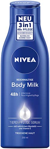 NIVEA Reichhaltige Body Milk (250 ml), für 48h Feuchtigkeitspflege, Lotion mit 3 in 1 Formel für trockene Haut mit Tiefenpflege Serum, Mandelöl und Vitamin E
