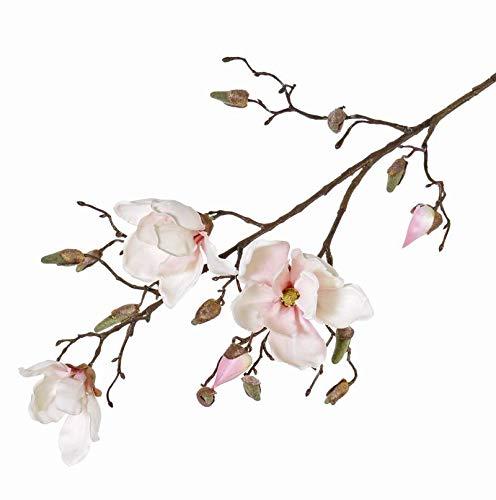 artplants.de Künstlicher Magnolienzweig KIMIKA, 3 Blüten, weiß-rosa, 85cm - Frühlingsdeko - Künstliche Magnolien