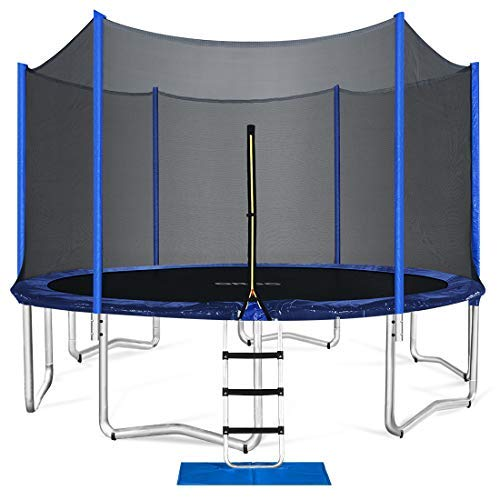 ORCC Trampoline 15 14 12 10ft Outdoor Trampoline Weight Capacity 400LBS for Kids Adults with Safety Enclosure Net Wind Stakes Rain Cover and T-Hook, Backyard Trampoline for Family (12ft)