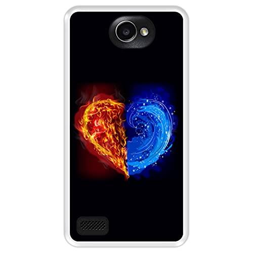 Hapdey Funda Transparente para [ LG X150 Bello 2 ] diseño [ Fuego y Agua, Corazon ] Carcasa Silicona Flexible TPU