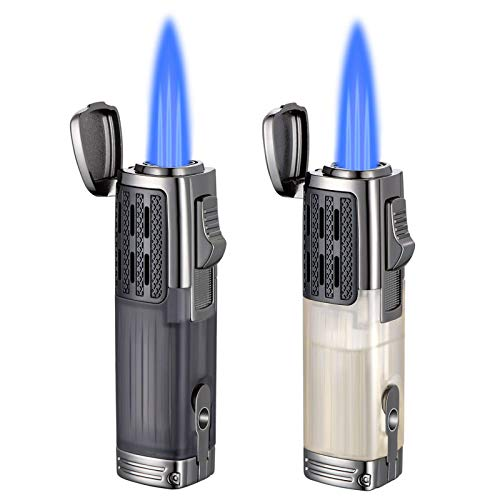 2 Packs Cigar Torch Lighters, Triple Jet Flame Refillable Butane Lighter Windproof Lighter with Puncher-- Butane Not Included