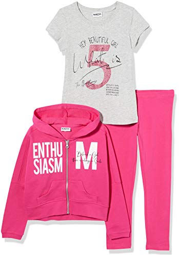 MEK Mädchen Tuta 3pz Full Zipp.c/Legging+t-Shirt Jogginganzug, Pink (Fucsia 03 052), 152 (Herstellergröße: 12A)