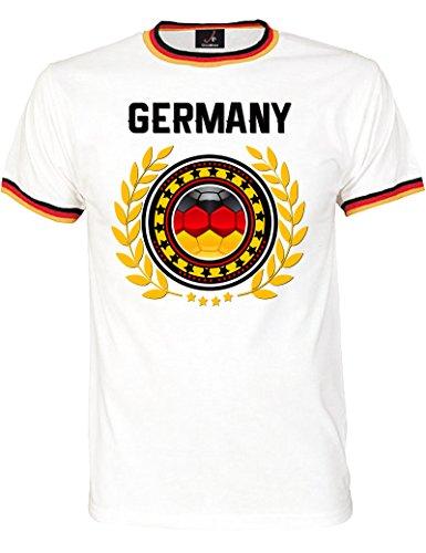 Shirtoo WM Fan-T-Shirt Fußball Weltmeisterschaft 2018 – Trikot mit Deutschland-Motiv für Herren und Damen in Größe XL