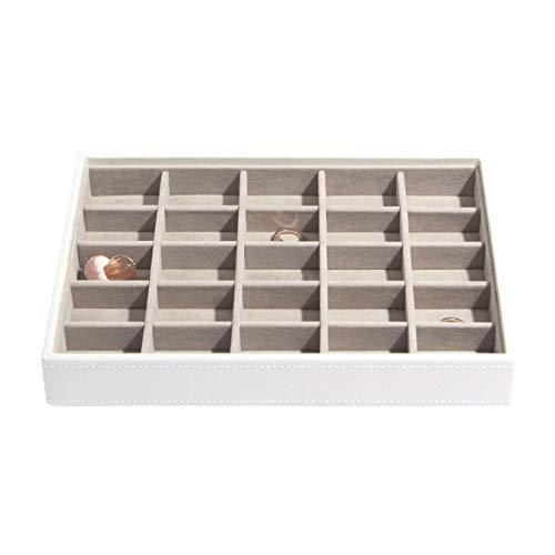 Stackers classic size  caja de la joyería organizador con 25 secciones para el pendientes y encantos, blanco con forro de terciopelo gris