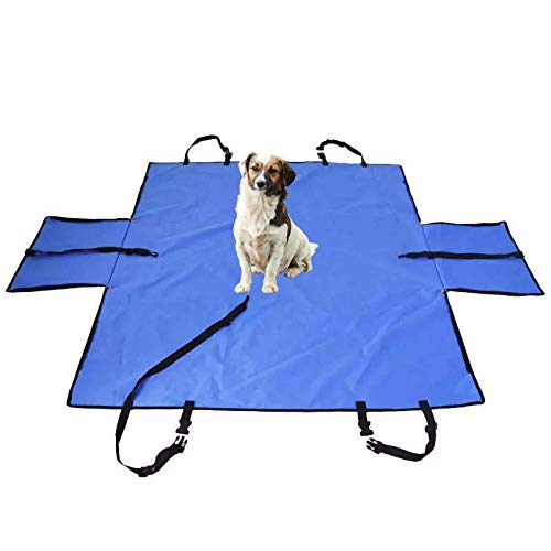 Protector Asientos Perro Azul Perro Coche Maletero para Mascotas y Niños con Cinturón de Seguridad para Mascotas y Bolsa de Almacenamiento, Impermeable, Lavable, Antideslizante, Se Adapta a Todos Los