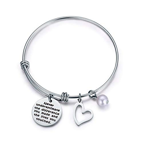 Jvvsci Never Underestimate The Difference You Made and The Lives You Touched Bracelet,Thank You Gift,Inspirational Gifts for Women