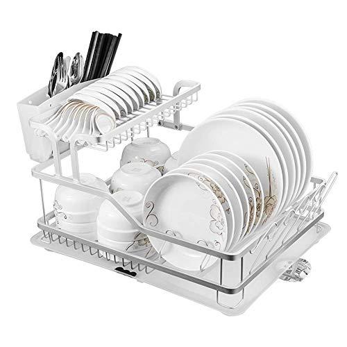 ZWMM Bandeja De Goteo ExtraíBle Estante para escurreplatos Estante para Platos, Escritorio de Aluminio de 2 Capas, Estante de Almacenamiento de Cubiertos de Cocina, Gran Capacidad