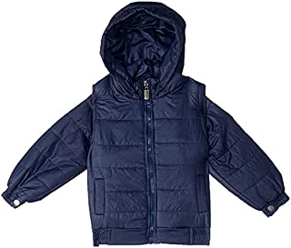 Giggles Buttoned Cuffs Solid Zip-Up Puffer Hoodie for Boys