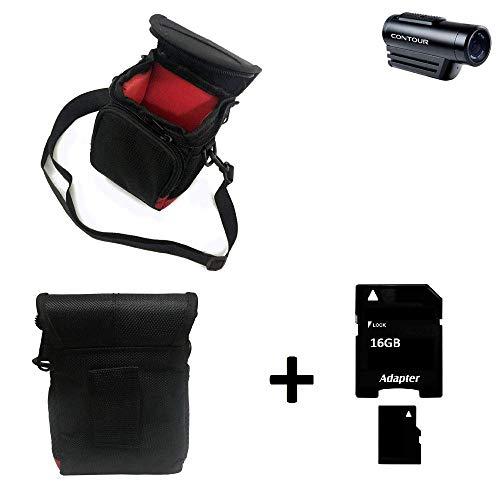 K-S-Trade® Bolsa De Cámara Funda Protectora Contour Roam 3 con Compartimento Adicional Externo Estuche Caméra Digital + 16GB Memoria