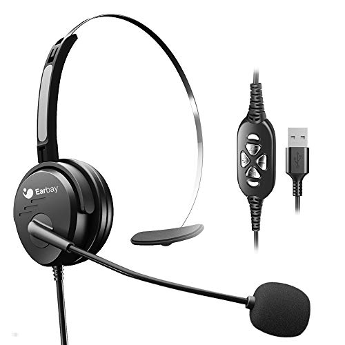 USB Headset with Mute Volume Control,Wired Computer Headsets with Microphone Noice Cancelling for Office Laptops Mac, Zoom Skype Webinar Business UC Voice Recognition