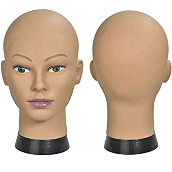 ErSiMan Female Cosmetology Mannequin Head Bald Manikin Head for Wigs Making Wig Display Hat Display Glasses Display Hairdressing Training Head Doll Head with Clamp(12-A)
