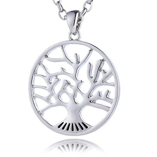 Morella Mujeres Acero Inoxidable Collar 70 cm con árbol de la Vida Colgante 34 mm y Bolsa de Terciopelo