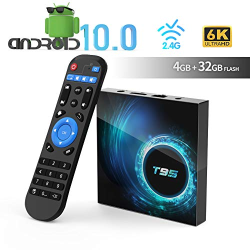 Android TV Box, TUREWELL T95 Android 10.0 Allwinner H616 Quadcore 4GB RAM 32GB ROM Mali-G31 MP2 GPU Soporte 6K 3D 1080P 2.4GHz WiFi 10/100M Ethernet DLNA HDMI 2.0 H.265 Smart TV Box 2020 más Nuevo