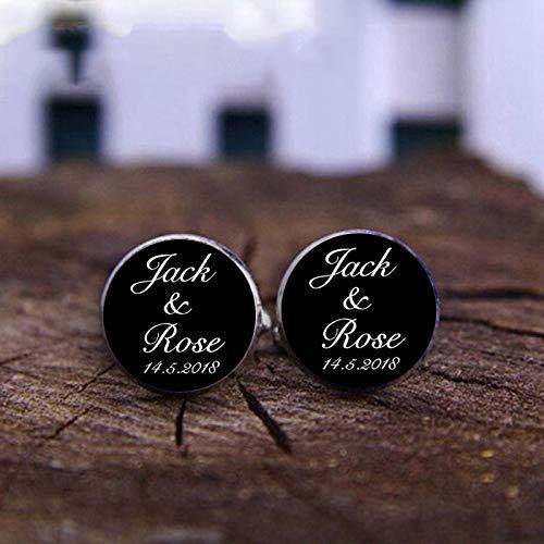 Gemelos personalizables con nombre y fecha para boda, calidad personalizable, con logotipo, texto en inglés, 1 par de gemelos para hombre