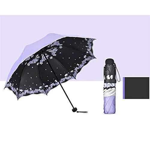 Parasol Parapluie Parapluie Pliant pour Femmes Voyage Anti-UV Coupe-Vent Pluie Fleur Modish Femelle Soleil Parasol Poche Parapluies Violet