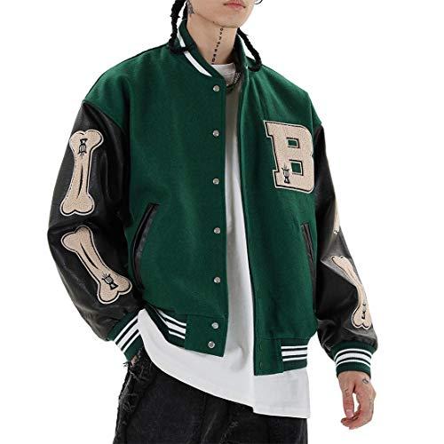 Vamtac Mens Varsity Baseball Jacket Bomber Coats Cotton Fur Jackets Streetwear with Pocket Green
