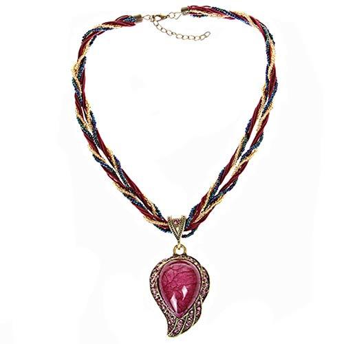 N / A Nigoz - 1 collar trenzado de cristal de ópalo con gotas de corazón, piedras preciosas artificiales, collar metálico, color rojo, calidad superior, práctico y rentable