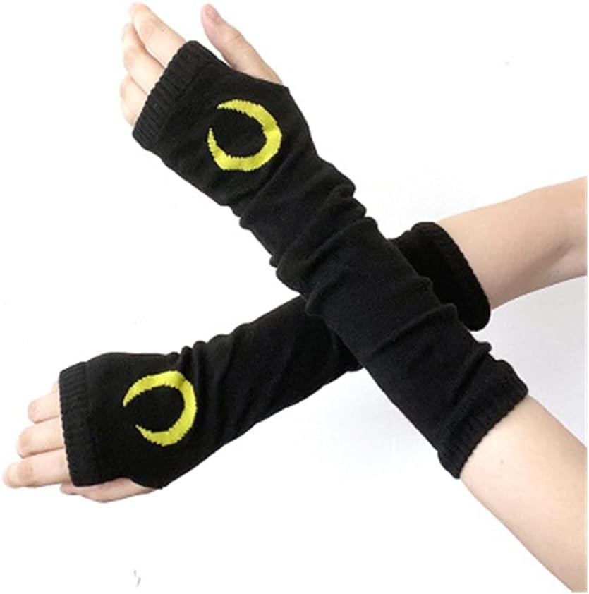 YANYAN Gothic Harajuku Punk Style Black Cross Half Finger Long Glove Women Knit Length Sleeve Fingerless Gloves Streetwear (Color : Dark Grey, Gloves Size : One Size)