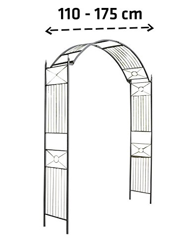 CLP Arco para Flores Flexi I Arco para Jardín de Metal I Arco Decorativo para Jardín I Arco de Flores Ancho Ajustable I Color: Negro