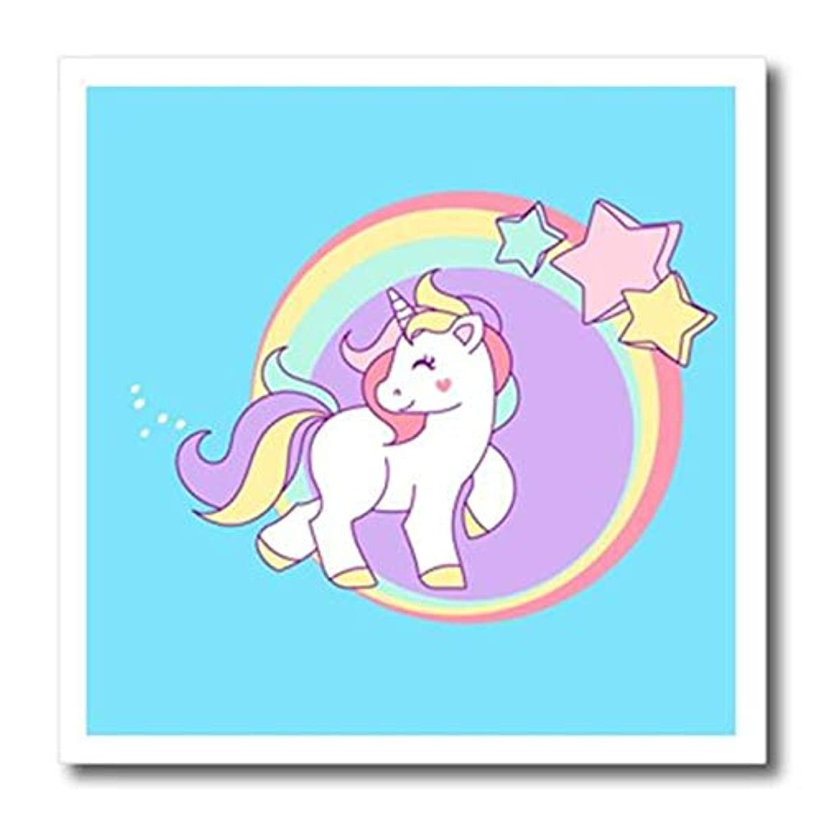 3D Rose Prancing Pastel Unicorn with Circles and Stars Iron On Heat Transfer, 6 x 6, White