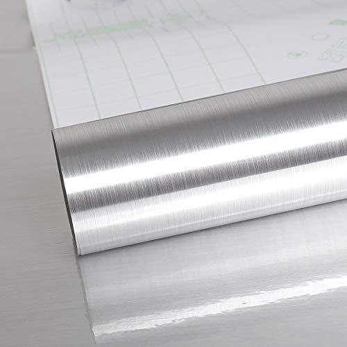 VEELIKE Lastra Effetto di Alluminio Rivestimento Parete Carta Adesiva per Mobili Vinile Adesivo Paraschizzi Parete Cucina Top Cucina Piano Lavoro Carta da Parati Lavabile a Prova di Olio 40cm x 900cm