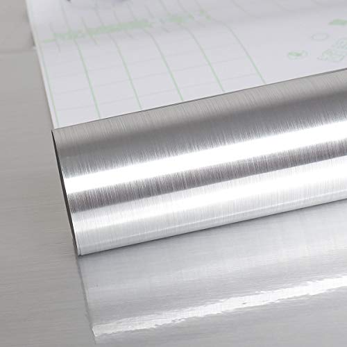 VEELIKE 15.74'×118.11' Silver Stainless Steel Contact Paper Rust Resistance...